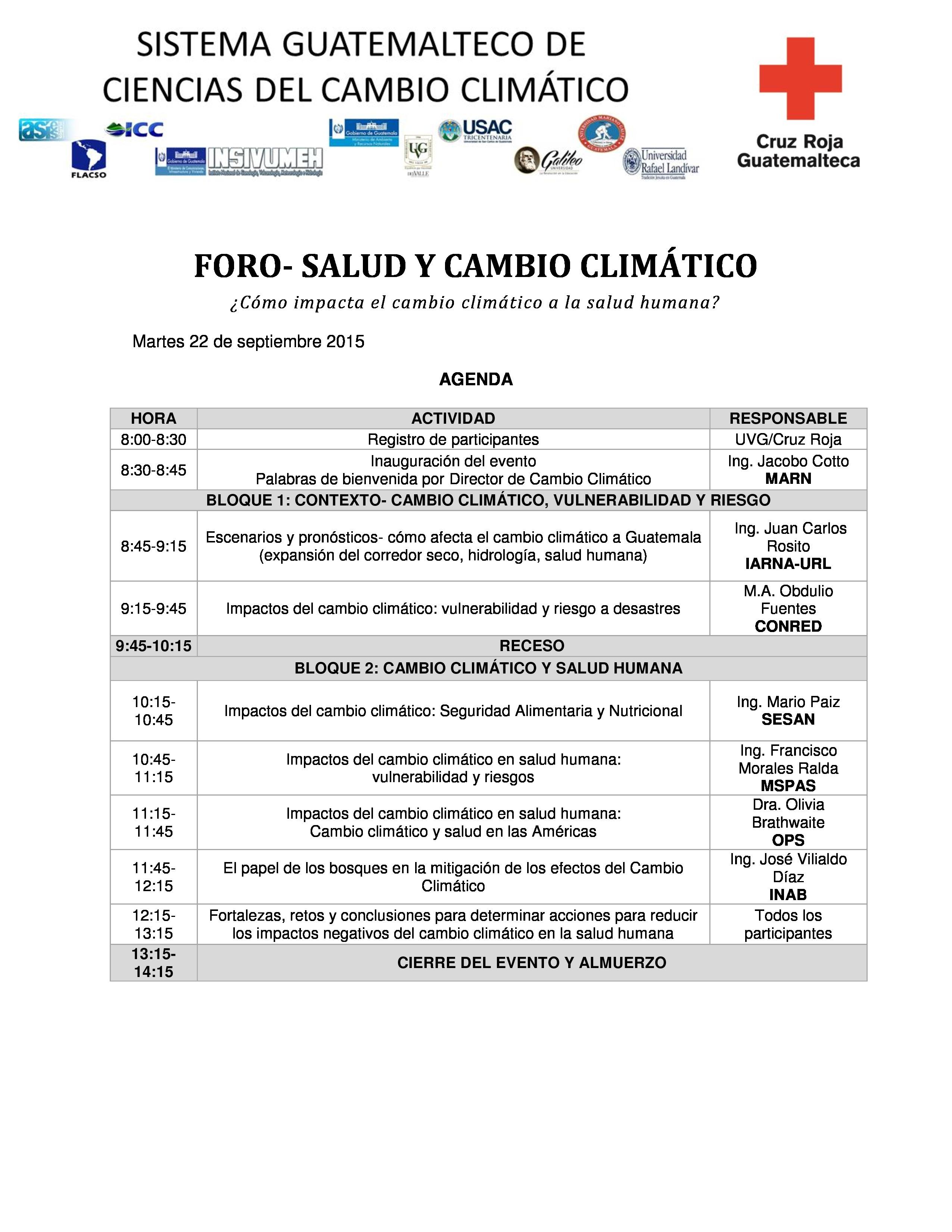 AgendaForoSaludyCambioClimatico 2015