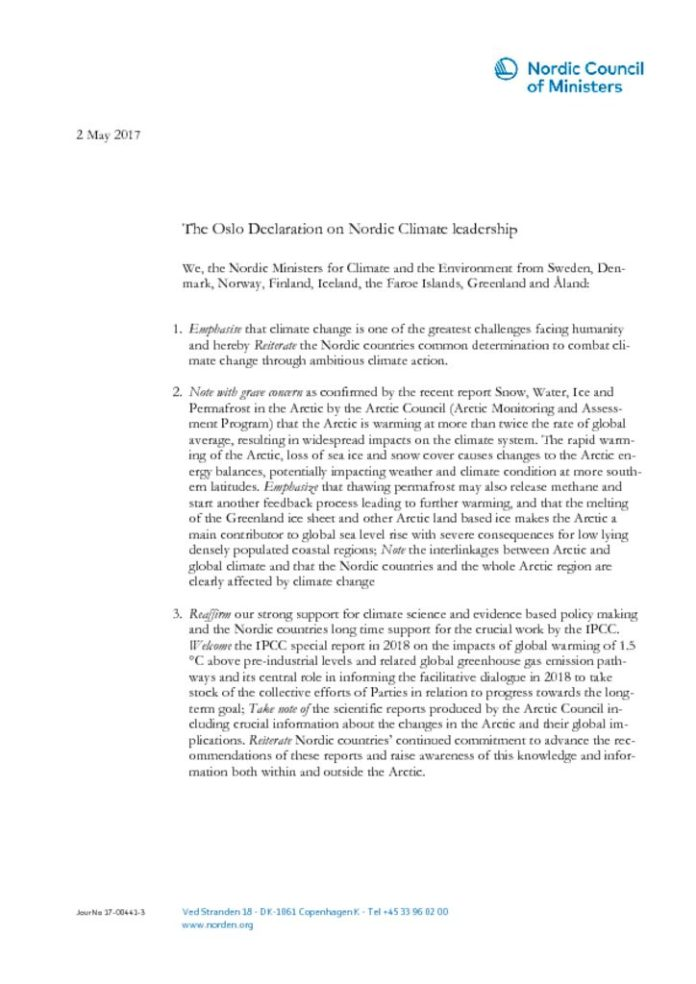 thumbnail of The Oslo Declaration on Nordic Climate leadership (003)